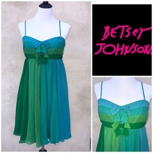 Betsey Johnson bluegreen silk bow minidress 10 EUC